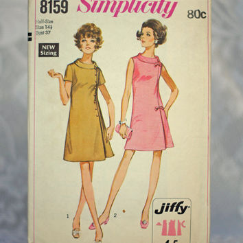 Jiffy Dress Vintage Sewing Pattern 1960s Dart-fitted Dress with Roll Collar Simplicity 8159, Size 14-1/2 Medium Printed Pattern