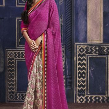 Buy Traditional Designer Wear Georgette Saree Shibori Fashion