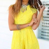 SUMMER FLING PLAYSUIT - high-neck yellow lace playsuit
