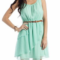 belted chiffon dress &amp;#36;36.30 in CORAL MINT OFFWHITE YELLOW - Casual | GoJane.com