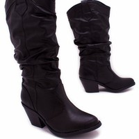 leatherette cowgirl boot $36.10 in BLACK BURGUNDY GREEN - New Shoes | GoJane.com