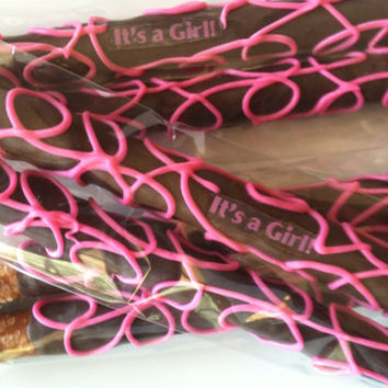 BABY Shower Favors - It's a GIRL - Gourmet White Chocolate Dipped Pretzels 1 Dozen - Q's Goodies
