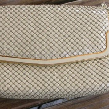 Vintage Evening Bag, Purse, Another YS Creation Beige, Cream Mesh