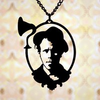 Tom Waits cameo necklace in black stainless steel by FableAndFury