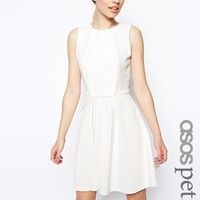 ASOS PETITE Skater Dress with Fold Detail in Texture