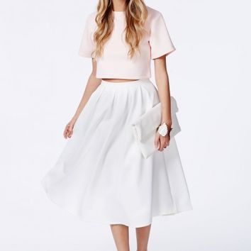 Missguided - Auberta White Pleated Midi Skirt In Scuba