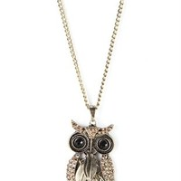 Long Necklace with Owl Charm
