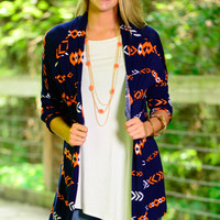 Shine On Cardigan, Navy/Orange