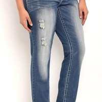 Plus Size Vanilla Star Skinny Jean with Destruction and Sequins