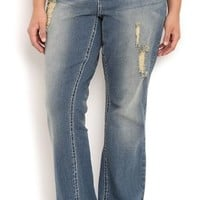 Plus Size Vanilla Star Bootcut Jean with Subtle Destruction