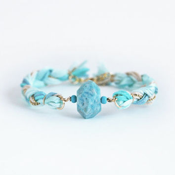 Amazonite bracelet, faceted stone bracelet, mint bracelet with amazonite bead, braid bracelet, boho bracelet