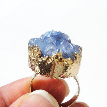 Sea Blue Gold Plated Druzy Ring, Blue Druzy Drusy Crystal Quartz Adjustable  Gold Dipped Rings, Bohemian Gypsy Chic