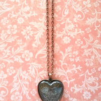 Black sparkle glitter glass dome heart necklace for tween or teen girl