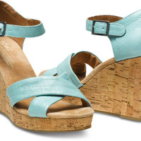 TURQUOISE METALLIC LINEN STRAPPY WEDGES