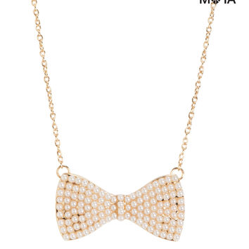 Pearl Bow Short-Strand Necklace
