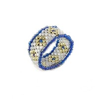 Silver Diamonds Beaded Ring
