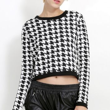 Retro Houndstooth Sweater | MakeMeChic.com