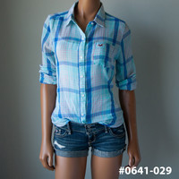 "New Hollister Womens Hco ""Hermosa"" Summer Beach Plaid Button Down Shirt"