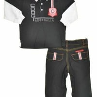 Coogi Infant Boys L/S Black Australia Polo & Pant 2Pc Set