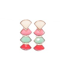 Level by Level Enamel Drop Earrings - Gold Multi