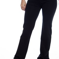 Basic Fold Over Contrast Waistband Yoga Pants - Emerald