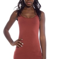 Basic Spaghetti Tank Tops - Dark Rust