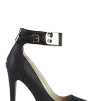 Pointy Toe Single Sole Pump with Gold Ankle Cuff