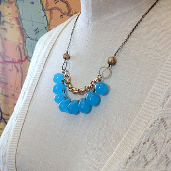 aqua blue teardrop statement necklace // bib necklace // chunky beaded necklace // layered chain necklace // chunky blue bib necklace