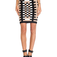 Mondrian Jacquard 3/4 Length Sheath Skirt in Tan& Black & White