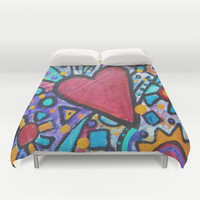 Mosaic Heart Duvet Cover by gretzky