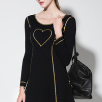 Vintage 90s Moschino Black Gold Heart Dress | Thrifted & Modern