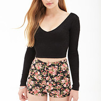 High-Waist Floral Knit Shorts