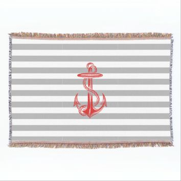 Red Anchor Gray White Stripe Throw Balnket