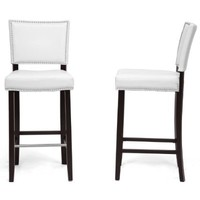 Baxton Studio Aries Modern Bar Stool with Nail Head Trim, White, Set of 2