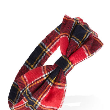 Tartan Plaid Bow Headband