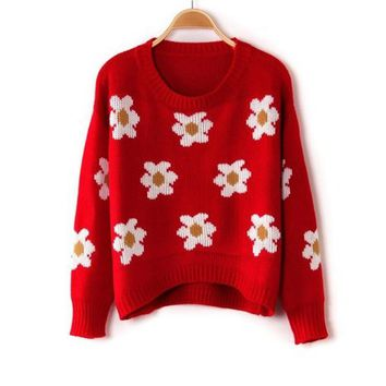 Vobaga Women's Daisies Print Cotton Pullover Sweater