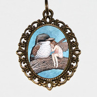 Bird Fairy Necklace Oval Pendant