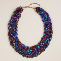 Blue Braided Multi-Strand Bead Necklace - World Market