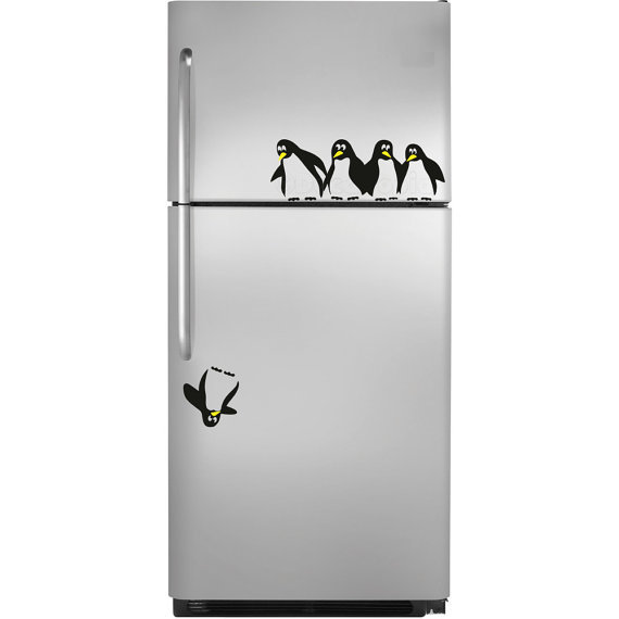 Save the Penguin Fridge Decal by decaltopia on Etsy