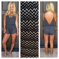 Dizzy Up The Boy Chevron Print Romper - BLACK