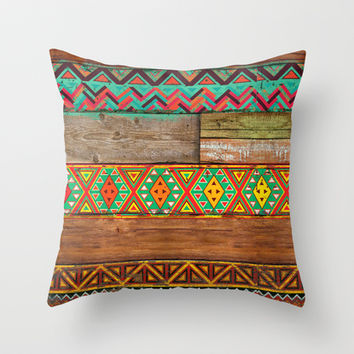 Indian Wood Throw Pillow by Maximilian San