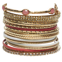 Mixed Stone Bangle Set | Wet Seal