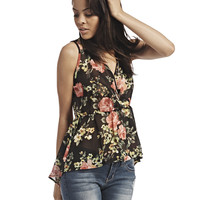 Floral Chiffon Surplice Top | Wet Seal