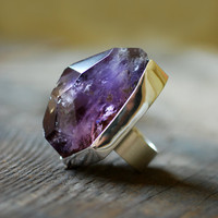 Raw Ametrine Gemstone Ring