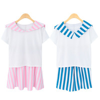 Sailor white top and blue stripe shorts school uniform two colors from Sweetbox Store