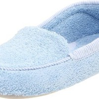 ACORN Women`s Cotton Terry Moccasin,Cloud Blue,Large/8-9 M US