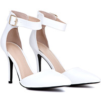 Clyde PU Pointy Stiletto With Ankle Strap in White