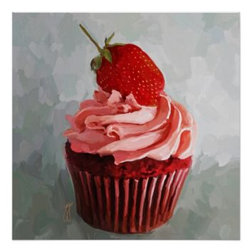 Strawberry Cupcake Square Fine Art Print