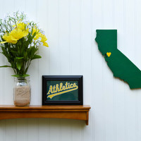 "Oakland A's ""State Heart"" wall art, handcrafted wood with official team colors"