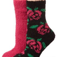 Betsey Johnson Women's 2 Pack Rose Slipper Socks
